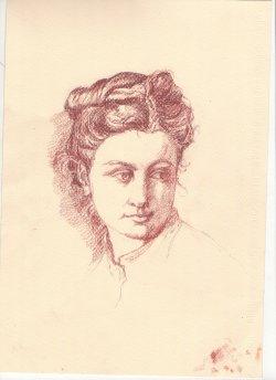 Juliette d'après Thomas Couture - Sanguine