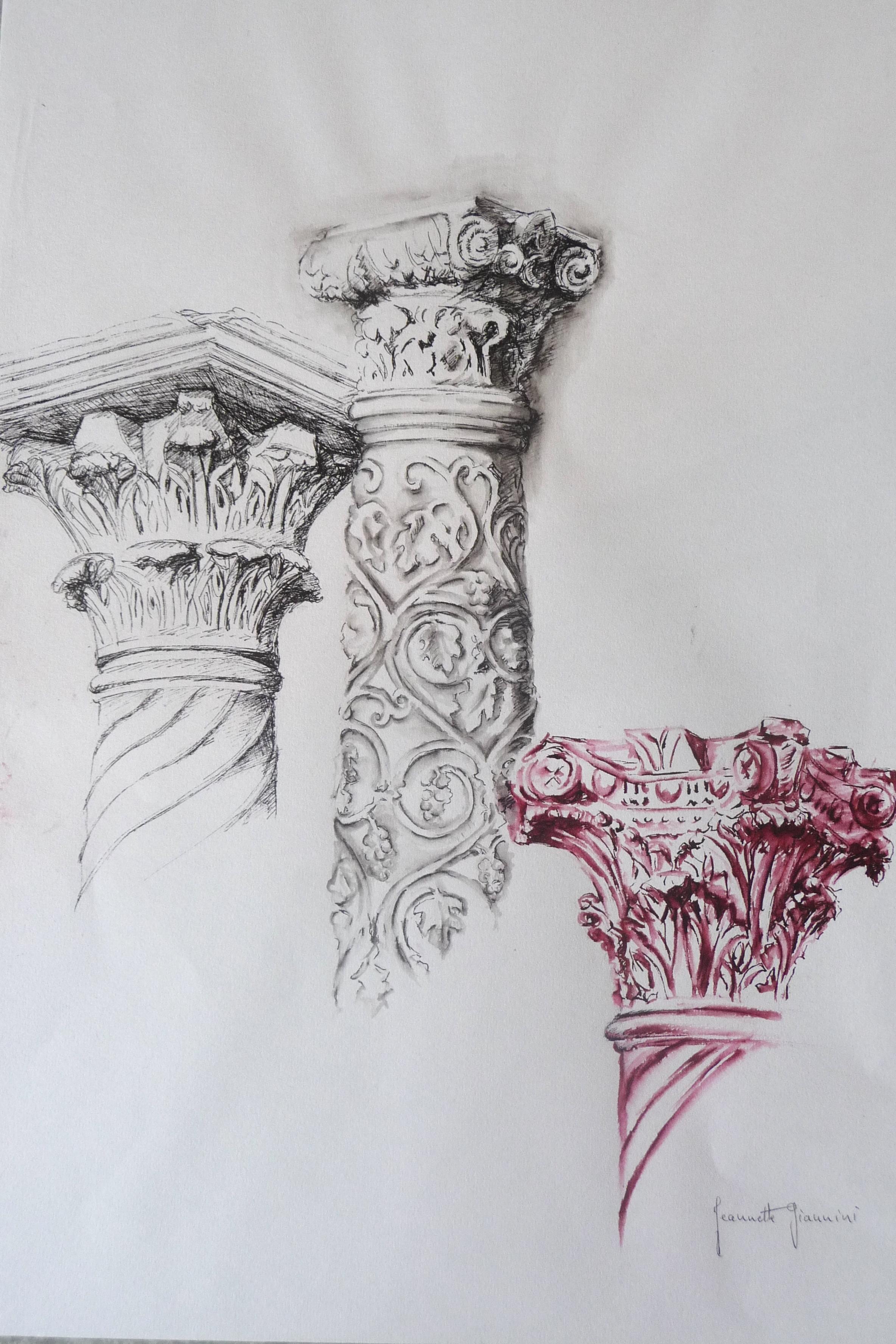 Encre - Chapiteaux antiques